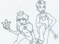 """Mario and Peach coloring page"""